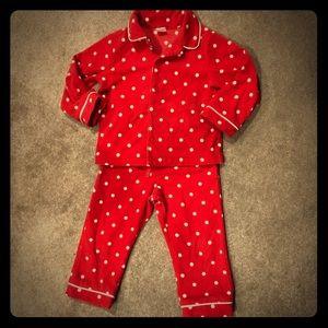Girls Red & White Polka Dot Pajama Set 3T